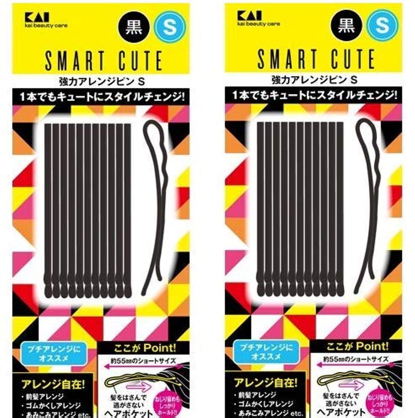 愛情スカーフ会話スマートキュート(SmartCute) 強力アレンジピンS (黒) HC3318 2個セット