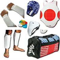 Complete布Sparring Gear Set w/Shin、Groin &バッグ