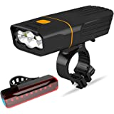 Gyhuego USB Rechargeable Bike Light Front, Super Bright 3 Led 3000 Lumens, Runtime 10hrs Waterproof Bicycle Headlight and Tai