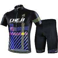 LSERVER 半袖 サイクルジャージ 上下セット メンズ 3D立体パンツ 自転車ウェア 吸汗 速乾 通気 ロードバイクウェア サイクルウェア シャツ レーサー・サイクリングウェア 春夏 男性用 ビブ選択可