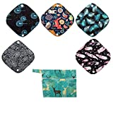 5 XS Panty Liners 1 Wet Bag Cloth Menstrual Pads Reusable Washable (Deers, XS Panty Liners)