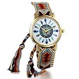 JewelryWe 可愛い アジアンエスニック レディース 腕時計 文字盤 クーオツ 丸型 女子学生 ウオッチ バンド調整可能 ブラウン
