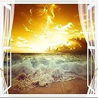 Ansyny 夕日の海の風景3D立体テレビの背景の壁の大きな壁の絵の環境保護の壁紙-300X200CM