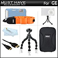 "Must Haveアクセサリーキットfor GEアクティブdv1-gg、dv1-ab、dv1-co、dv1-lg、dv1-lg、DVX防水/耐衝撃性1080pポケットビデオカメラIncludes Mini HDMIケーブル+ケース+フロートストラップ+ 7""三脚+ More"