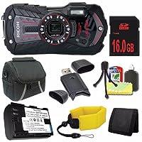 リコー WG-30 デジタルカメラ (黒檀ブラック) + LI-50B 交換用リチウムイオンバッテリー + 16GB SDHC Class 10 メモリカード+ 防水フローティングストラップ + キャリーケース + SDカードUSBリーダー + メモリーカードウォレット + デラックススターターキット DavisMAXバンドル
