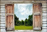 leyiyi 7x 5ft Photography Backgroud Enchanted Forest Backdropウェディングアーチドアビンテージ木製フェンスGreenery Park grassland Sky Cloud Kids Happy誕生日ベビーシャワーフォトPortraitビニールStudio Prop