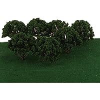 【ノーブランド品】 列車の鉄道 プラスチック製 15色選ぶ ツリーモデル 1/75 8センチメートル 20枚  レイアウト 風景 木 情景鉄道模型 飾り プレゼント - 緑