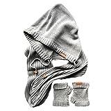 ローラ・Alisonフード付きインフィニティスカーフと指なし手袋ギフトセット、グレーMelange