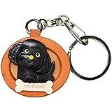 本革 犬キーホルダー トイプードル ブラック プレートワンちゃん VANCA(日本製 職人の手作り)
