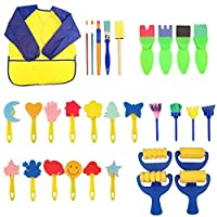 Kids Early Learning Sponge Painting Brushes Kit,30 pcs of Fun Paint Brushes for Toddlers,Long Sleeve Waterproof Apron 3 Roomy Pockets,Sponge Brush, Flower Pattern Brush,Brush Set