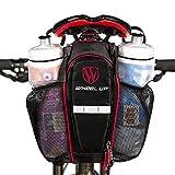 SHITORASU 自転車サドルバッグ 防水 大容量 ボトルバッグ 2 本入り水筒 自転車バッグ 夜間反射テープ付き テールライト装着可能