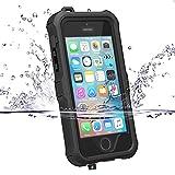 iphone5s ケース iphone SE ケース ZVE iphone5s 防水ケース アイフォン5sケース 多機能スマホケース 指紋認識可 防塵 防雪 耐衝撃カバー 液晶保護フィルム付き(iphone5/5s/SE ブラック)