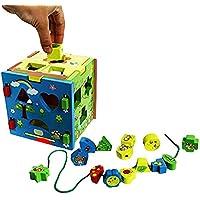 おもちゃCubby幼児ベビー天然木製形状と色ソーターキューブNon Toxicペイント