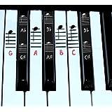 ピアノのステッカーの白と黒のキーw /コンプリート・メモのためのグランドスタッフに49 61 76の88の鍵盤楽器のための (Pink)
