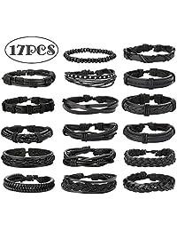 Jstyle 17Pcs Braided Leather Bracelet for Men Women Wooden Beaded Cuff Wrap Bracelet Adjustable