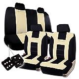 Amazon.co.jpユニバーサル フィット プレミアム品質 100% 防水性 通気性 ベージュ & ブラックのレーシングスタイル シートカバー フルセット + クラシックブラックのハンギング ファジーダイス付きセット