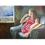 Wowdecor Paint by Numbers Canvas Kits for Adults Beginner Kids, DIY Acrylic Number Painting - Girl Bird Window Landscape 16x20 inch - Wall Art Digital Oil Painting Home Decor Christmas Gifts (Frameless)