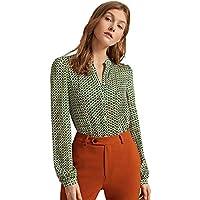 Milumia Women's Elegant Tops Geometric Print V Neck Office Blouses Shirts