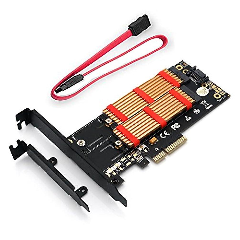 卒業バス紛争ZYX デュアルM.2 SSD NVME (mキー) または SATA (bキー) から PCI-e 3.0 x 4 ホストコントローラー拡張カード デスクトップ用薄型ブラケットとヒートシンク付き