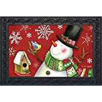 Frosty Friends Christmas Doormat Snowman Birdhouse Indoor Outdoor 18 x 30 [並行輸入品]