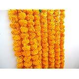 Craffair artificial marigold flower strings orange color, party backdrop, party decoration, Indian theme party decor, photo p