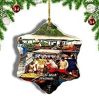 Weekinoベトナムメコン川デルタホーチミンクリスマスオーナメントクリスマスツリーペンダントデコレーション旅行お土産コレクション陶器両面デザイン3インチ