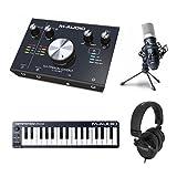 M-Audio 【M-Track 2x2Mスターターパック】 オーディオインターフェイス・32ミニ鍵盤MIDIキーボード・コンデンサーマイク・モニターヘッドホン