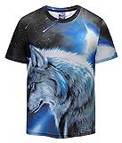 (ピゾフ)Pizoff Tシャツ 半袖 メンズ 狼柄 迫力 プリント 大きいサイズ 夏服 お揃いY1823-10-L