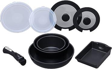 アイリスオーヤマ 「ダイヤモンドコートパン」 ブラック 9点セット IH対応 取っ手のとれる フライパン 鍋 セット IS-SE9
