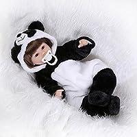 ハンドメイド17インチ42 cm Lovely Lifelikeソフトビニール人形シリコン新生児磁気口リアルなLooking Reborn幼児用ベビーガール人形with Panda Outfit