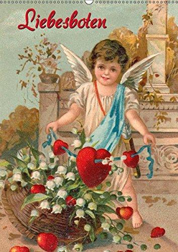 Liebesboten (Wandkalender 2017 DIN A2 hoch): Engelchen auf nostalgischen Postkarten (Monatskalender, 14 Seiten )