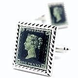 MFYS Jewelry [A-0148] ヴィクトリア (イギリス女王) ペニー・ブラック 世界最初の郵便切手 スクエア 四角 カフス 【専用収納ケース付き】