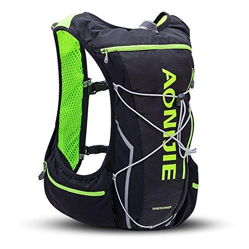 AONIJIE 登山リュック ザックハイドレーションバッグ ランニングバッグ サイクリングバッグ 軽量 自転車バックパック10L (black/green)
