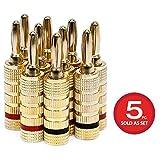 Monoprice High-Quality 24k Gold Plated Speaker Banana Plugs, Closed Screw Type (5 Pairs)