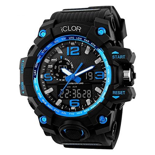 Swagコレクションi-shock XL多機能Water Proofデジタルスポーツ時計LEDライト(ブルー)