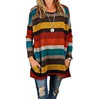 Women's Long Sleeve Tunic Round Neck Striped Pocket Casual Loose T-shirt Dress