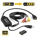 Iseebiz HDMIをコンポジットへ変換 改良品 車載用対応 HDMI to RCA/AV/コンポジット 変換アダプター 変換ケーブル 1080P USB給電 車載モニター対応 ソフト不要 アナログ3 RCA
