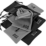 """Microfiber Pouch - Soft Storage Bag(s) for Glasses and Cell Phones (Black&Gray 4"""" x 7.75"""")"""