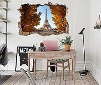 3D エッフェル塔の風景 6 ウォールステッカー 壁の装飾 壁紙 壁画 三次元 突破口 世帯 ホームインテリアフォト Carly (150*80cm)