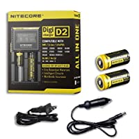 Combo: Nitecore Digi Charger D2 w/2x NL166 RCR123A Batteries +Car & Wall Adaptors