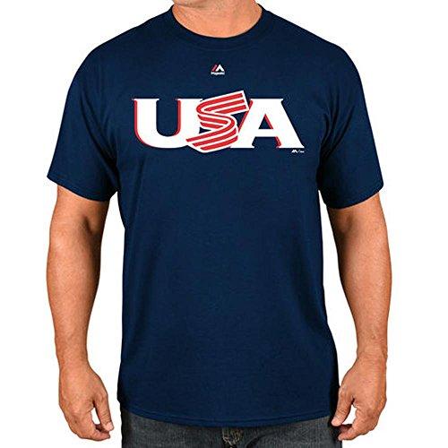 Majestic(マジェスティック) WBC アメリカ 2017 ワールドベースボールクラシック ワードマーク Tシャツ (ネイビー) - L