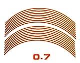 AUTOMAX izumi リム(柿)0.7cm▼直線オレンジ 反射 幅0.7cmリムステッカー14~16インチ対応 リムライン