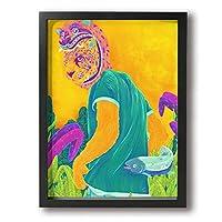 Shamp カラフル 虎の仮面 絵 壁掛け 絵画 インテリア ポスター アートポスター フレームレス装飾画 アートフレーム・ポスター 横 額縁付き