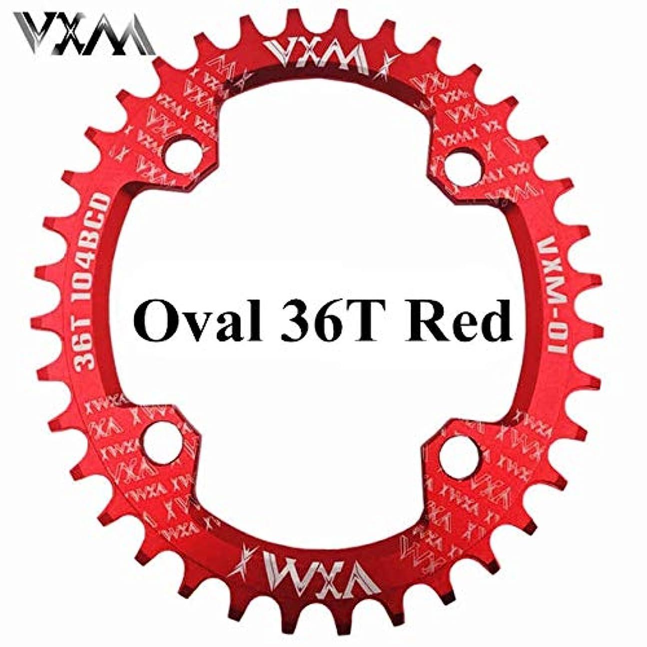 ヤングスクリュードライPropenary - 自転車104BCDクランクオーバルラウンド30T 32T 34T 36T 38T 40T 42T 44T 46T 48T 50T 52TチェーンホイールXT狭い広い自転車チェーンリング[オーバル36Tレッド]
