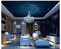 MzNmフォト壁紙3d壁画ブルー夢感光性円ファッションKTV天井ウォール背景壁紙デコレーション Gsavba -50254