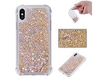 iPhone5ケース iPhone5sケース iPhoneSEケース アイフォン5/5S/SEケース 高品質 薄型 軽量   シリコン TPU  ソフト  耐衝撃  高級感  手触り良い 可愛い キラキラ流れ愛心 お洒落 携帯カバー (iPhone5/5S/SE, ゴールデン)