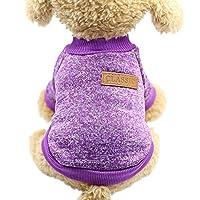 Ciciペットウェア 犬服 可愛い 通気性 セーター tシャツ お散歩お出かけ ドッグウェア コート 猫用 暖かい 小型犬 中型犬(パープル、M)
