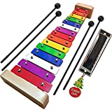 Xylophone for Kids: Glockenspiel Toy Best Holiday/Birthday Gift Idea - with(Four) Child-Safe Mallets Plastic, 3 Music Card & Harmonica Included