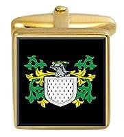選択ギフトHandel England家紋Surname Coat of ArmsゴールドCufflinks Engravedボックス