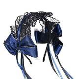 【Angelicate】ヘッドドレス ロリータ カチューシャ コスプレ 仮装 黒 ゴスロリ レース リボン (ネイビー)
